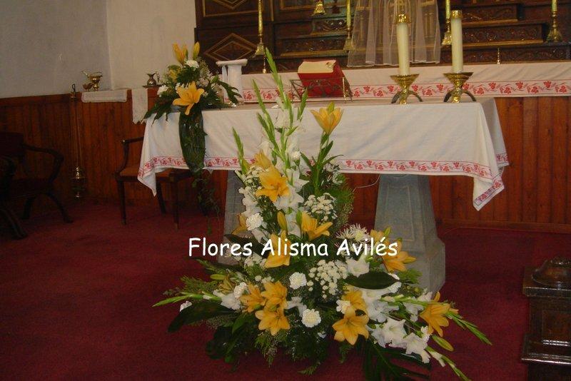 Decoración floral de iglesia para boda centro para altar de Flores Alisma de Avilés