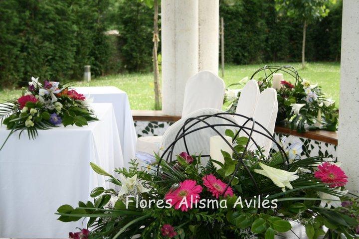 Decoración floral para boda civil. . Arreglos florales para boda civil. Bodas en Asturias