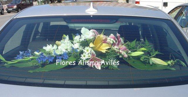 Decoración de coche para boda Centro para coche de novios