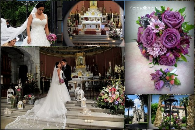 Decoración de Flores Alisma de Aviés de la Iglesia de Jesús el Nazareno en El Pito (Cudillero) para la boda de Tamara