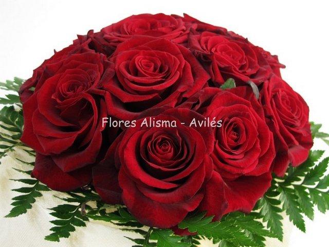 Ramo de novia Bouquet de rosas rojas flores Alisma