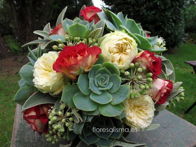 Ramos de novia con plantas suculentas.  Flores Alisma - Avilés -