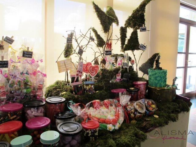 Decoración de Candy Bar para boda en La Casona de Lupa Flores Alisma