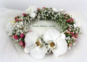 corona para arras o comunión de flor natural
