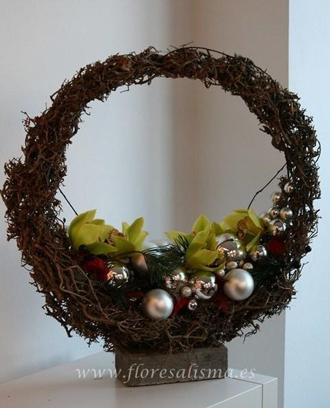 Flores Alisma - Centro de navidad en esfera - Flores Alisma