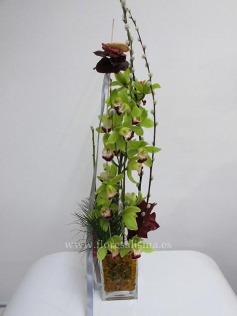 Flores Alisma - Composición con Cymbidium  - Flores Alisma
