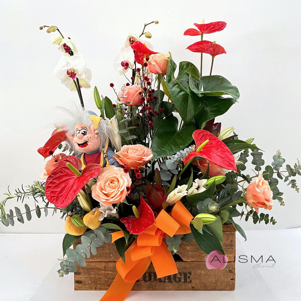 Flores Alisma - Cesta de plantas y flores con peluche  - Flores Alisma